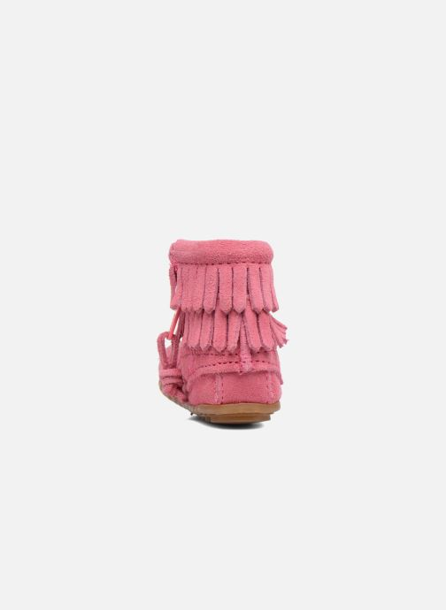 Botines  Minnetonka Double Fringe side zip boot B Rosa vista lateral derecha