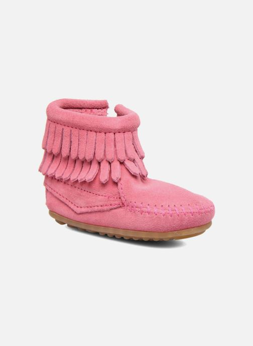 Botines  Minnetonka Double Fringe side zip boot B Rosa vista de detalle / par