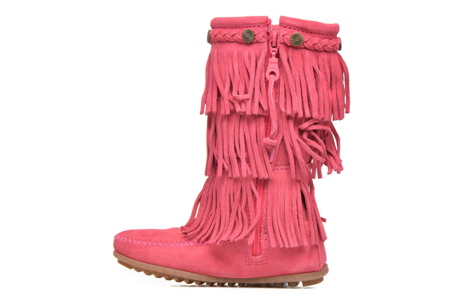 Bottes Minnetonka 3-Layer Fringe Boot E Rose vue face