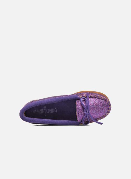 Mocassins Minnetonka Glitter Moc Violet vue gauche