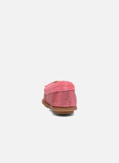 Mocasines Minnetonka Glitter Moc Rosa vista lateral derecha