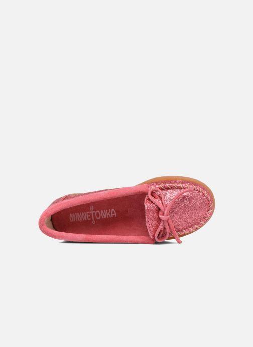 Loafers Minnetonka Glitter Moc Rosa bild från vänster sidan
