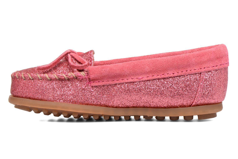 Slipper Minnetonka Glitter Moc rosa ansicht von vorne