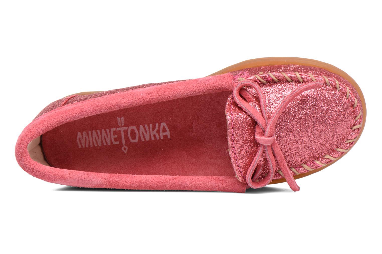 Slipper Minnetonka Glitter Moc rosa ansicht von links