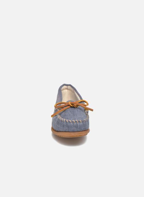 Mocassins Minnetonka Canvas Moc Bleu vue portées chaussures