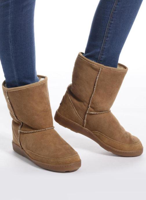 Bottines et boots Minnetonka Short Sheepskin Pug Boot W Marron vue bas / vue portée sac