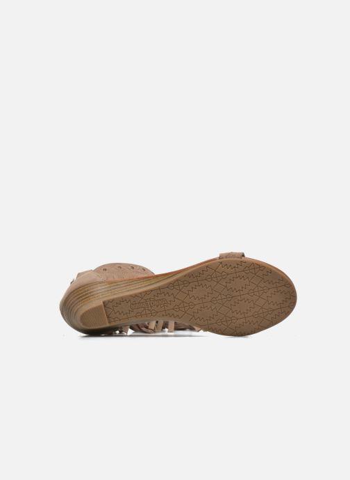 Sandales et nu-pieds Minnetonka Savona Low Wedge Beige vue haut