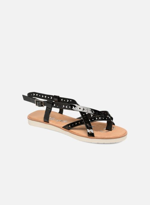 Sandals Coolway Poppy Black detailed view/ Pair view