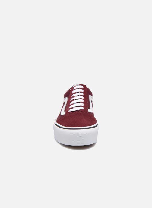Sneaker Vans Old Skool Platform weinrot schuhe getragen