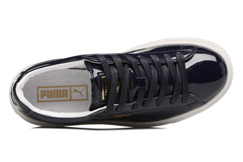 Baskets Puma Wns Basket Platform Patent Bleu vue gauche