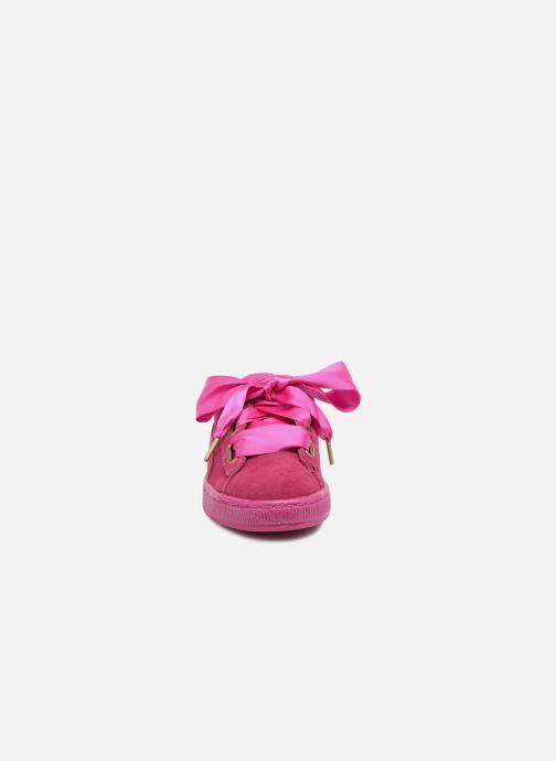 Baskets Puma Suede Heart Satin Wn's Rose vue portées chaussures