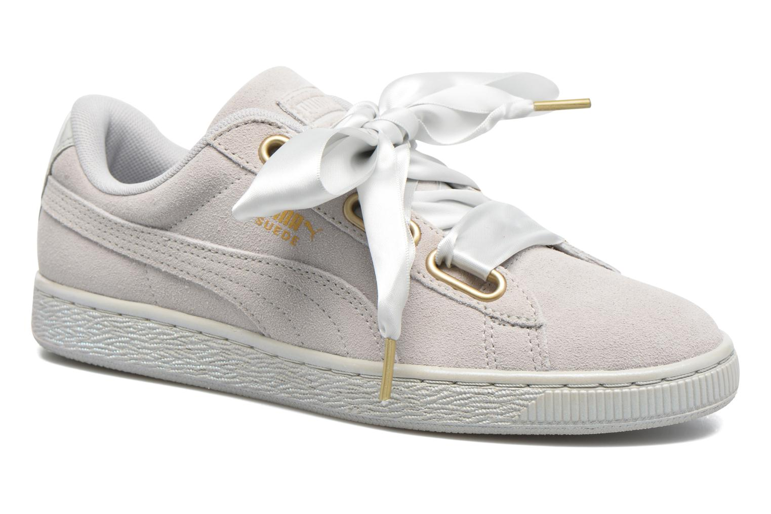 Baskets Puma Suede Heart Satin Wn's Gris vue détail/paire