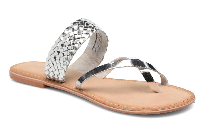 Wedges Vero Moda Malva Leather Sandal Zilver detail