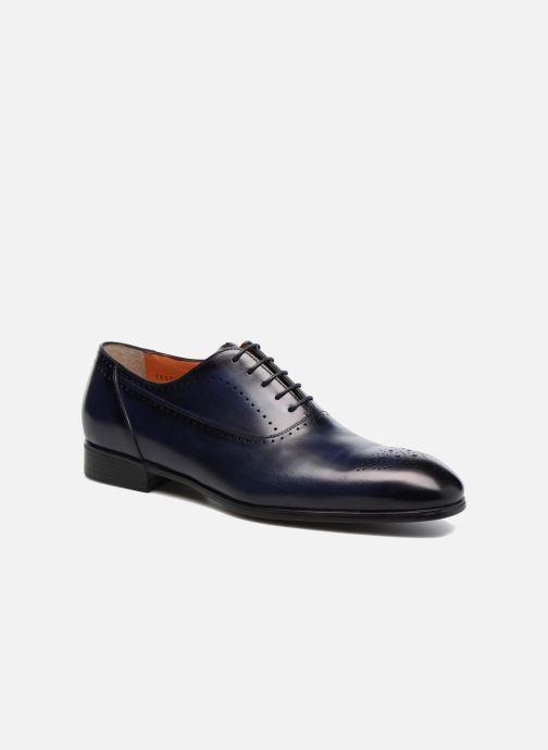 Lace-up shoes Santoni Simon 15576 Blue detailed view/ Pair view