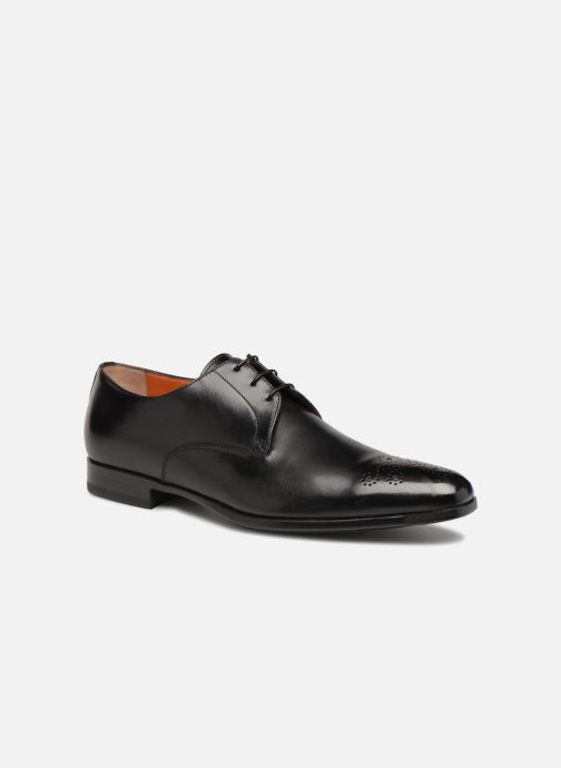 Lace-up shoes Santoni William 12381 Black detailed view/ Pair view