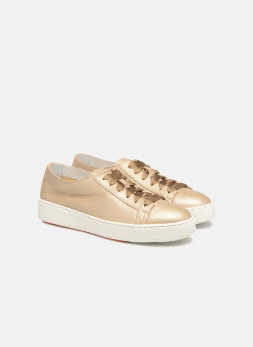 Trainers Santoni Clean Icon W Bronze and Gold 3/4 view