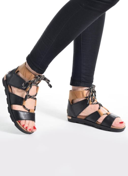 Sandalen Sorel Torpeda lace II schwarz ansicht von unten / tasche getragen
