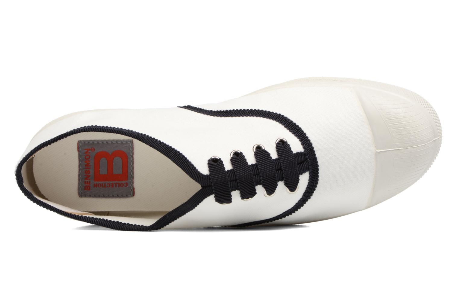 Trainers Bensimon Tennis Lacet Gros Grain White view from the left