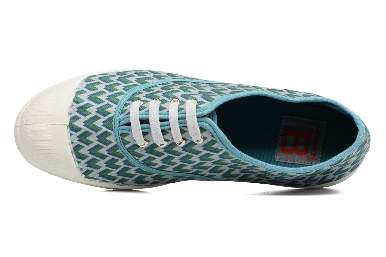 Trainers Bensimon Tennis Retro Triangle Green view from the left