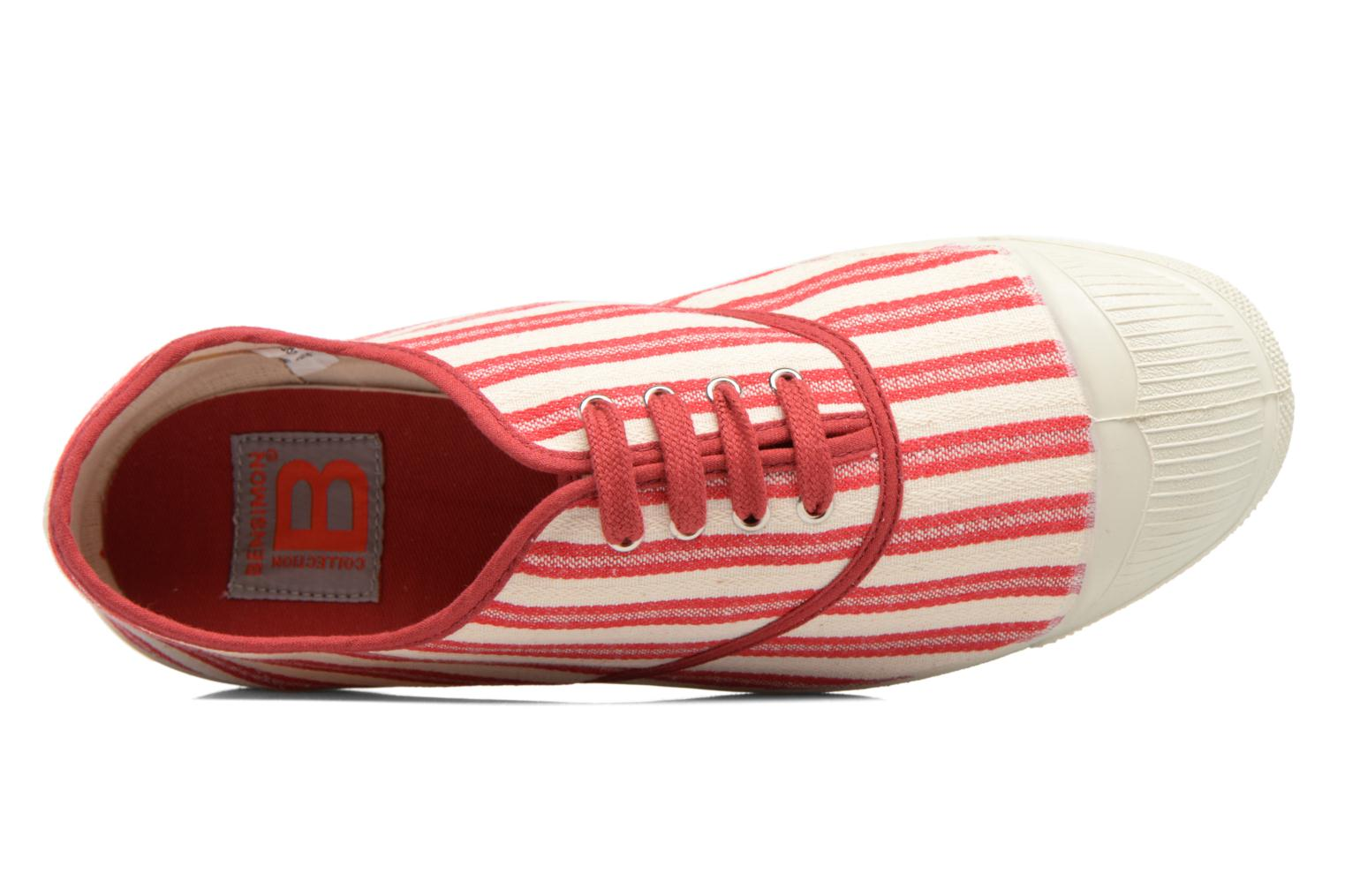 Trainers Bensimon Tennis Rayures Transat Red view from the left