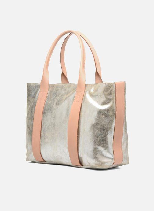 Bolsos de mano Clarks TASMIN BELLA Cabas cuir Plateado vista del modelo
