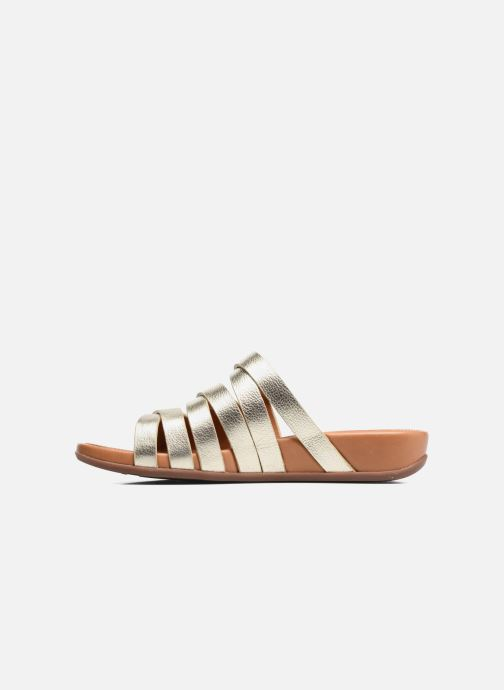 Mules & clogs FitFlop Lumy Leather Slide Bronze and Gold front view