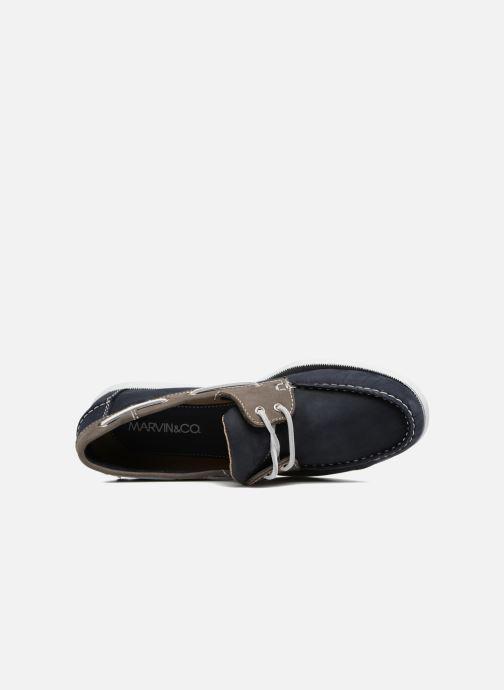 Schnürschuhe Marvin&Co Satingh blau ansicht von links