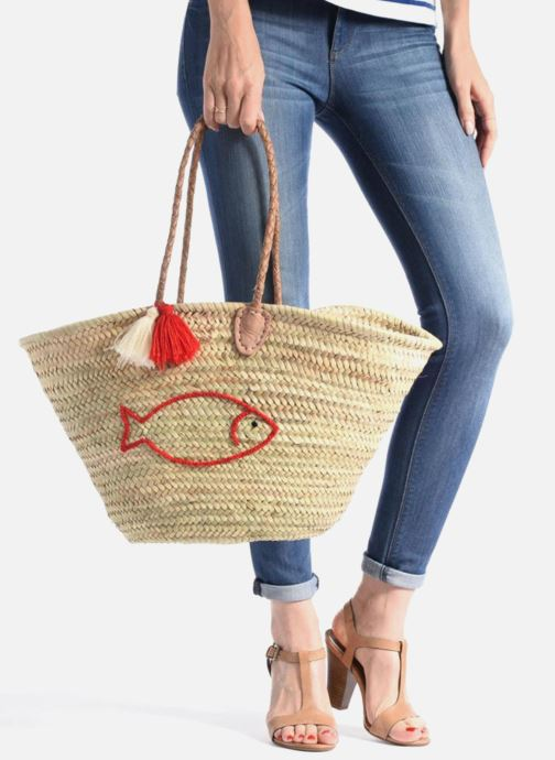 Handbags Etincelles Panier artisanal Poisson Rouge Red view from underneath / model view