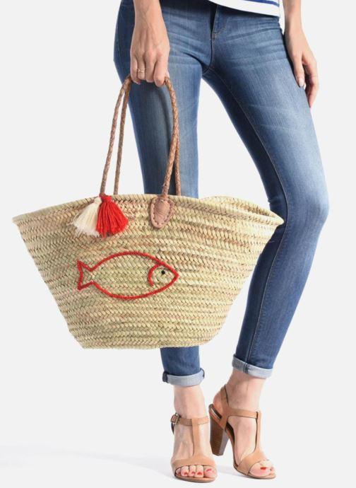 Sacs à main Etincelles Panier artisanal Poisson Rouge Rouge vue bas / vue portée sac