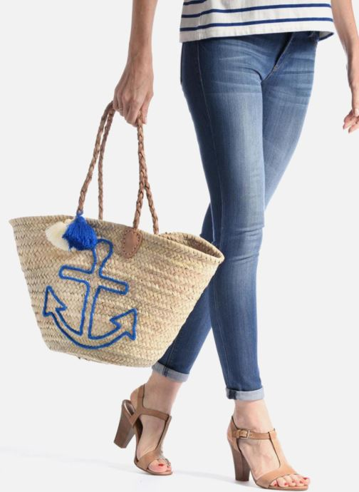 Handbags Etincelles Panier artisanal Ancre Bleu Blue view from underneath / model view