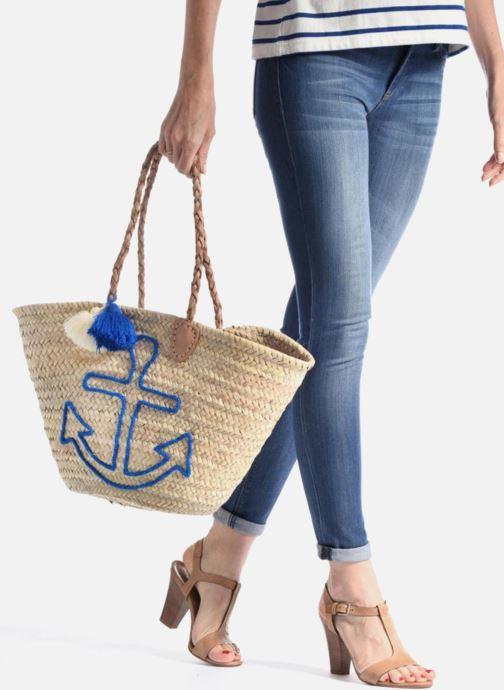 Sacs à main Etincelles Panier artisanal Ancre Bleu Bleu vue bas / vue portée sac