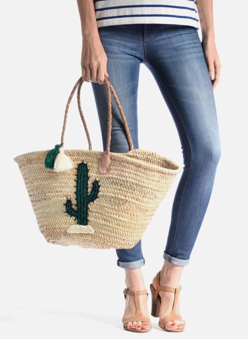 Sacs à main Etincelles Panier artisanal Cactus Vert Vert vue bas / vue portée sac