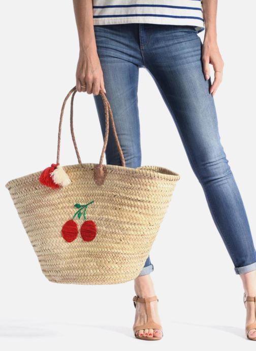 Sacs à main Etincelles Panier artisanal Cerise Rouge vue bas / vue portée sac
