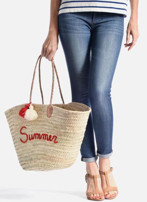 Sacs à main Etincelles Panier artisanal Summer Rouge Rouge vue bas / vue portée sac