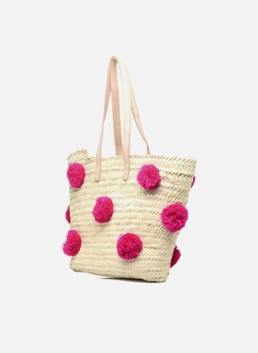 Borse Etincelles Panier artisanal Pompom Fuschia Rosa modello indossato