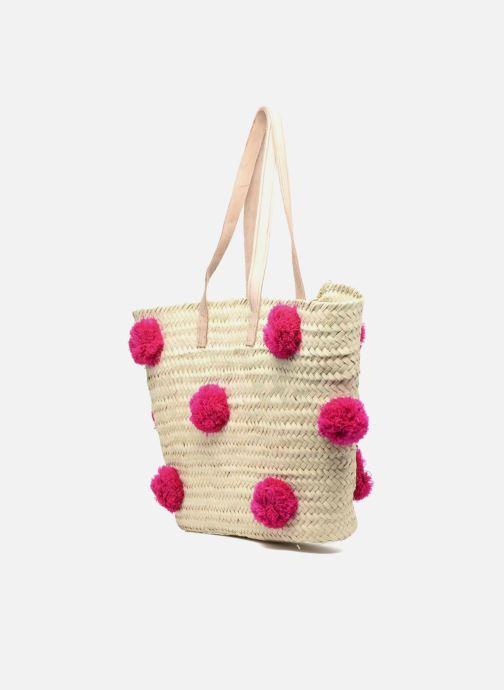 Sacs à main Etincelles Panier artisanal Pompom Fuschia Rose vue droite