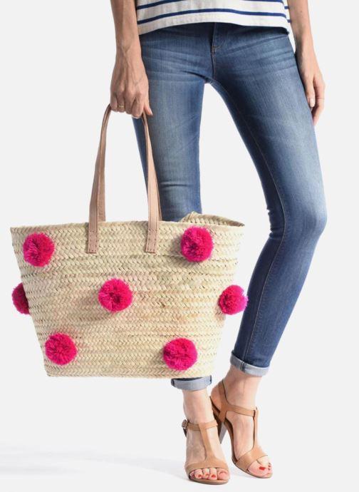 Sacs à main Etincelles Panier artisanal Pompom Fuschia Rose vue bas / vue portée sac
