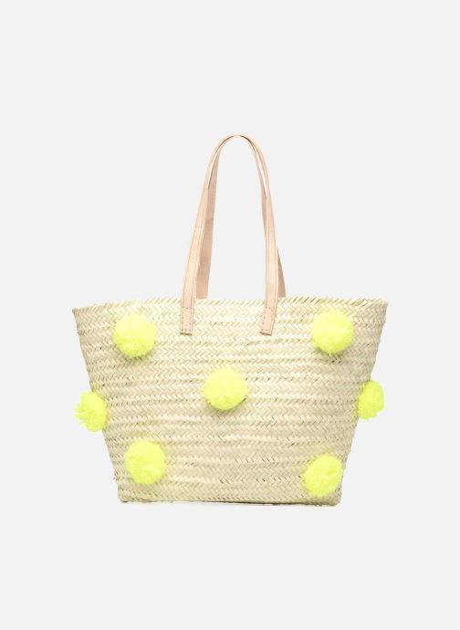 Handtaschen Taschen Panier artisanal Pompom Jaune Fluo