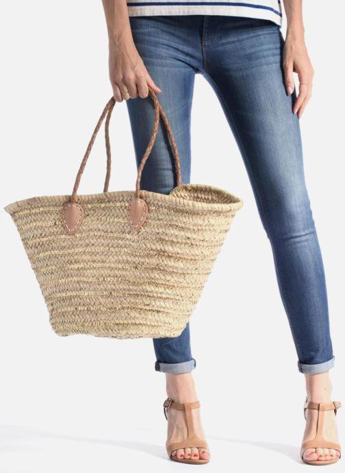 Sacs à main Etincelles Panier artisanal Rayure Sequin Or Or et bronze vue bas / vue portée sac