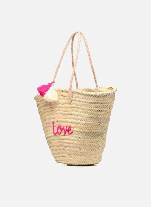Sacs à main Etincelles Panier artisanal Love Fuschia Rose vue portées chaussures
