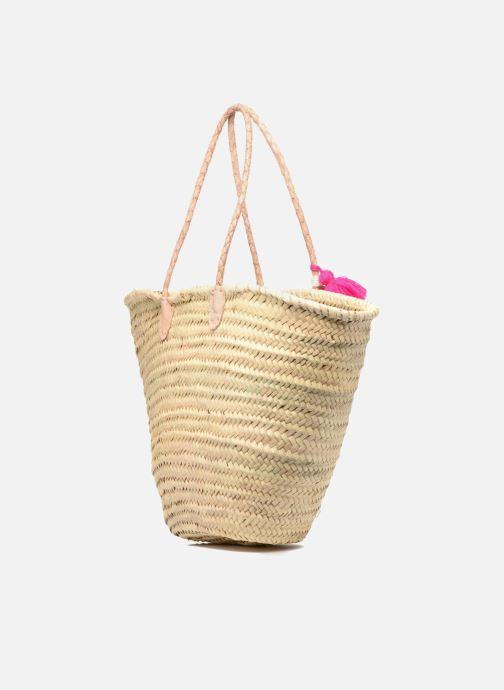Handbags Etincelles Panier artisanal Love Fuschia Pink view from the right