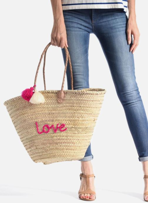 Handbags Etincelles Panier artisanal Love Fuschia Pink view from underneath / model view