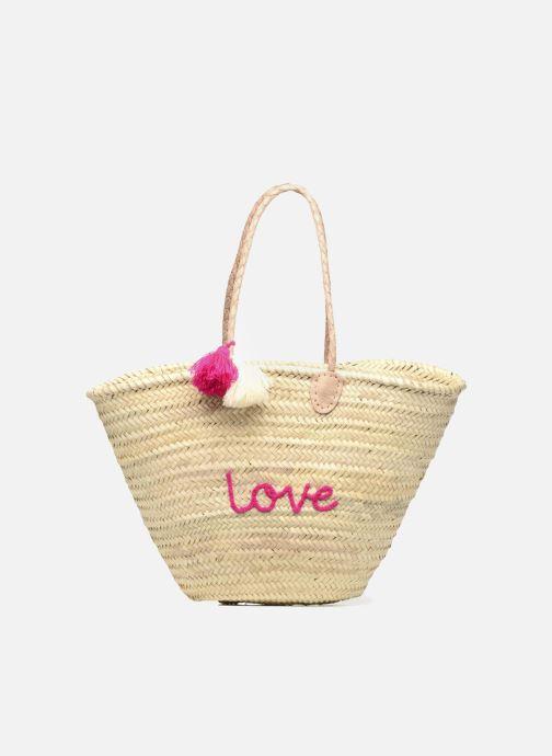 Bolsos de mano Etincelles Panier artisanal Love Fuschia Rosa vista de detalle / par