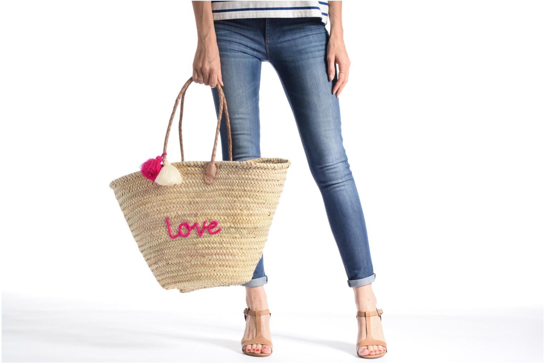Handtassen Etincelles Panier artisanal Love Fuschia Roze boven