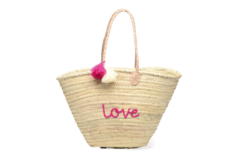 Sacs à main Etincelles Panier artisanal Love Fuschia Rose vue détail/paire