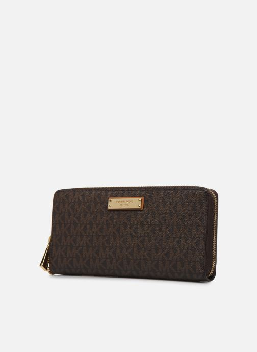 Pelletteria Michael Michael Kors JET SET TRAVEL CONTINENTAL Marrone modello indossato