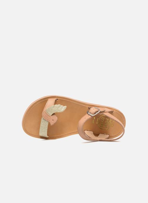 Sandals Pom d Api Plagette Birds Brown view from the left