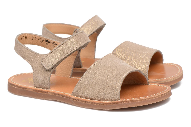 Sandales et nu-pieds Pom d Api Plage Stitch Easy Or et bronze vue 3/4