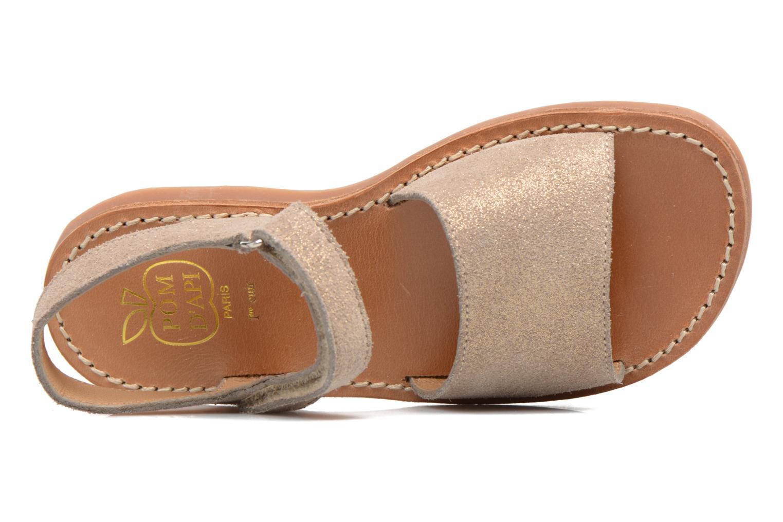 Sandales et nu-pieds Pom d Api Plage Stitch Easy Or et bronze vue gauche