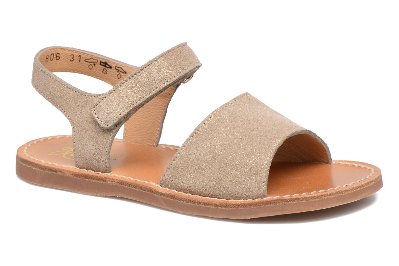 Sandales et nu-pieds Pom d Api Plage Stitch Easy Or et bronze vue détail/paire